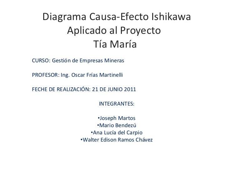 Diagrama Causa-Efecto IshikawaAplicado al Proyecto Tía María<br />CURSO: Gestión de Empresas Mineras<br />PROFESOR: Ing. O...