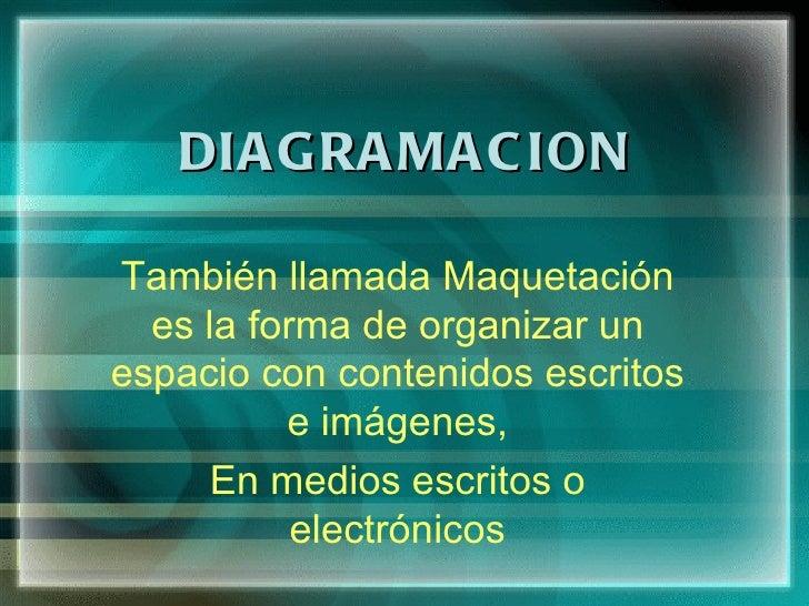 DIA GRA MA C IONTambién llamada Maquetación  es la forma de organizar unespacio con contenidos escritos          e imágene...