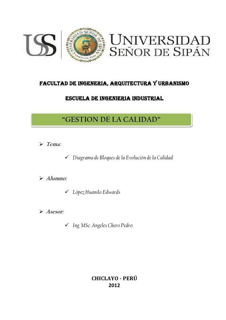 """FACULTAD DE INGENERIA, ARQUITECTURA Y URBANISMO            ESCUELA DE INGENIERIA INDUSTRIAL          """"GESTION DE LA CALIDA..."""