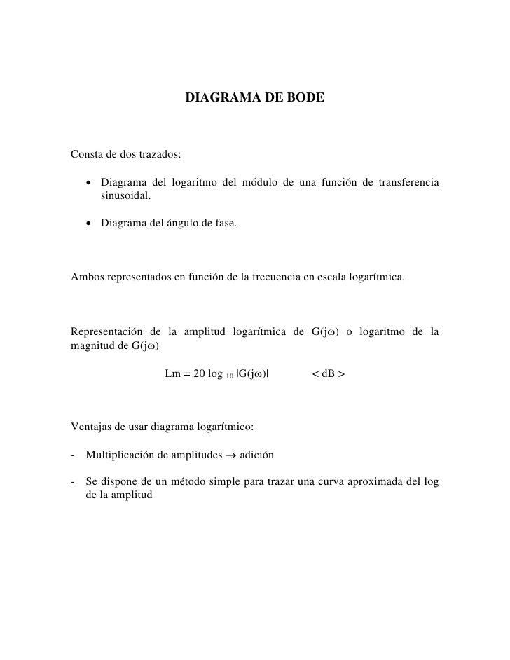 DIAGRAMA DE BODE    Consta de dos trazados:     • Diagrama del logaritmo del módulo de una función de transferencia      s...