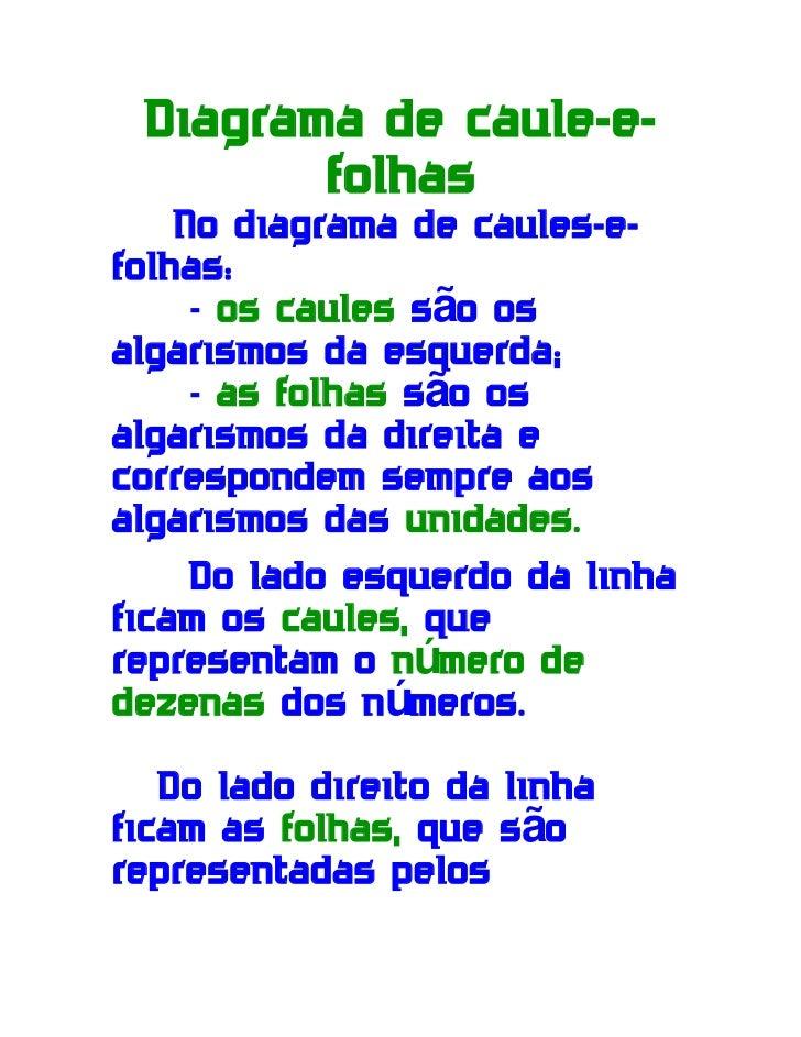Diagrama de caule-e-        folhas    No diagrama de caules-e-folhas:     - os caules são osalgarismos da esquerda;     - ...