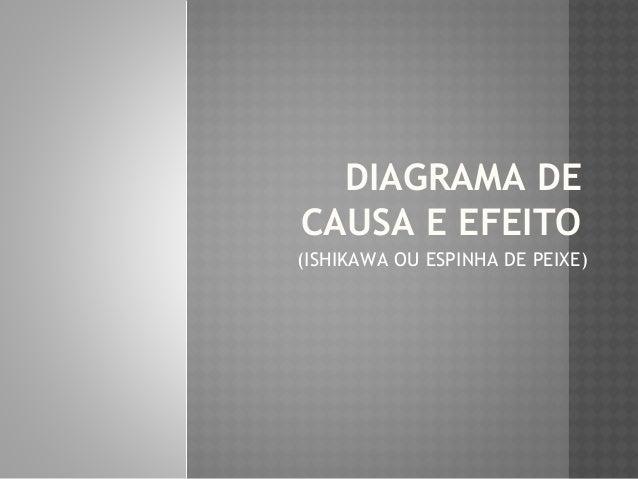 DIAGRAMA DE  CAUSA E EFEITO  (ISHIKAWA OU ESPINHA DE PEIXE)