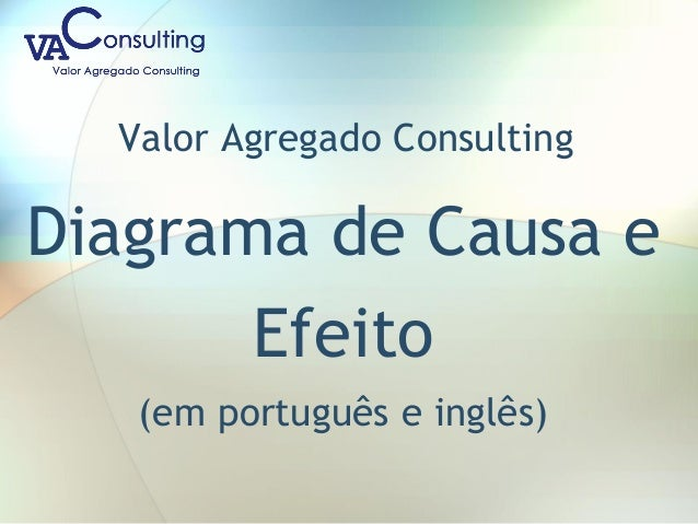Valor Agregado Consulting Diagrama de Causa e Efeito (em português e inglês)