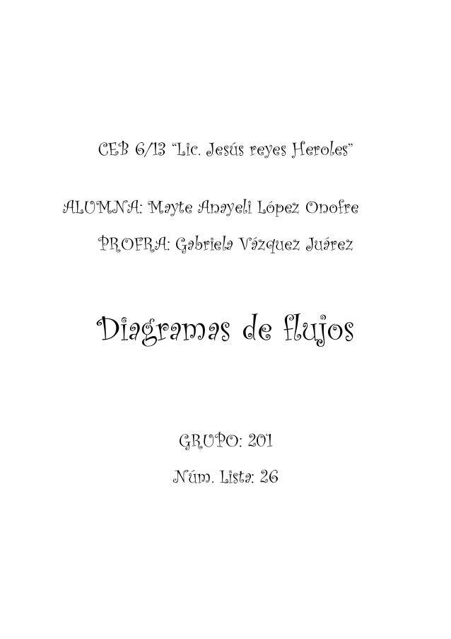 "CEB 6/13 ""Lic. Jesús reyes Heroles""ALUMNA: Mayte Anayeli López Onofre    PROFRA: Gabriela Vázquez Juárez   Diagramas de fl..."