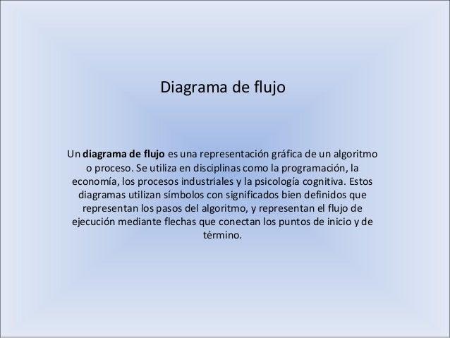 Diagrama de flujo Un diagrama de flujo es una representación gráfica de un algoritmo o proceso. Se utiliza en disciplinas ...