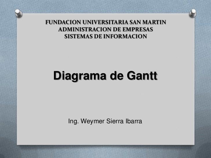 FUNDACION UNIVERSITARIA SAN MARTIN ADMINISTRACION DE EMPRESASSISTEMAS DE INFORMACION<br />Diagrama de Gantt<br />Ing. Weym...