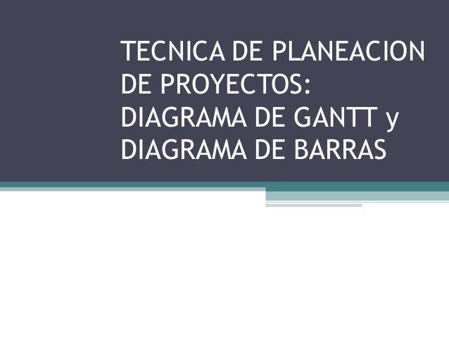 TECNICA DE PLANEACION DE PROYECTOS: DIAGRAMA DE GANTT y DIAGRAMA DE BARRAS