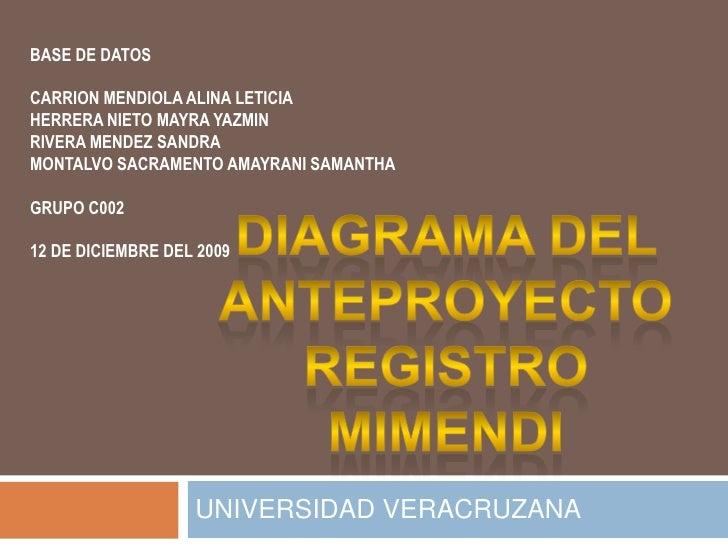 DIAGRAMA DEL ANTEPROYECTO REGISTRO MIMENDI<br />UNIVERSIDAD VERACRUZANA<br />BASE DE DATOS<br />CARRION MENDIOLA ALINA LET...