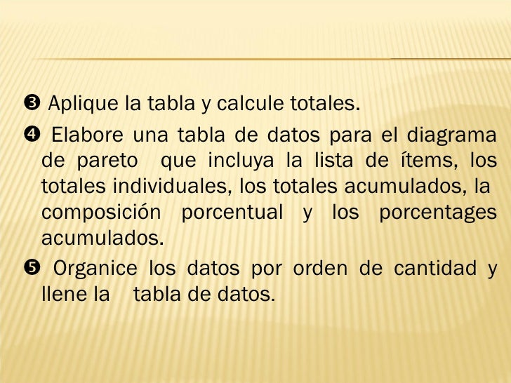 <ul><li>   Aplique la tabla y calcule totales. </li></ul><ul><li>   Elabore una tabla de datos para el diagrama de paret...