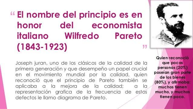 """""""  El nombre del principio es en  honor del economista  italiano Wilfredo Pareto  (1843-1923)  """"  Quien reconoció  que poc..."""