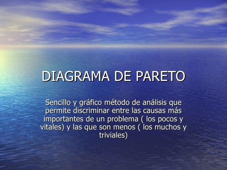 DIAGRAMA DE PARETO Sencillo y gráfico método de análisis que permite discriminar entre las causas más importantes de un pr...