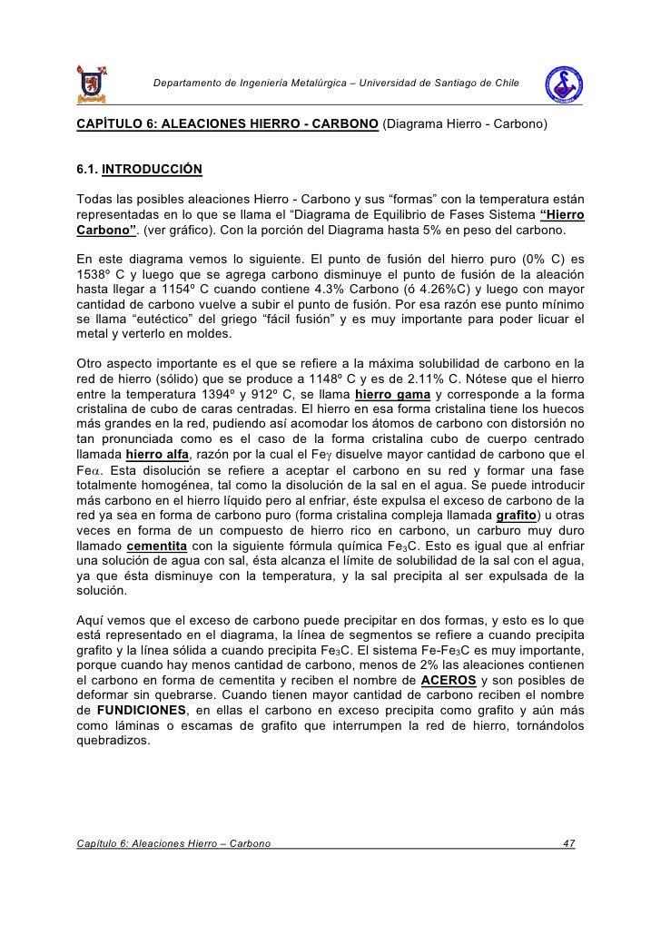Departamento de Ingeniería Metalúrgica – Universidad de Santiago de Chile   CAPÍTULO 6: ALEACIONES HIERRO - CARBONO (Diagr...