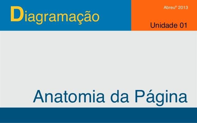 Diagramação Abreu® 2013 Anatomia da Página Unidade 01