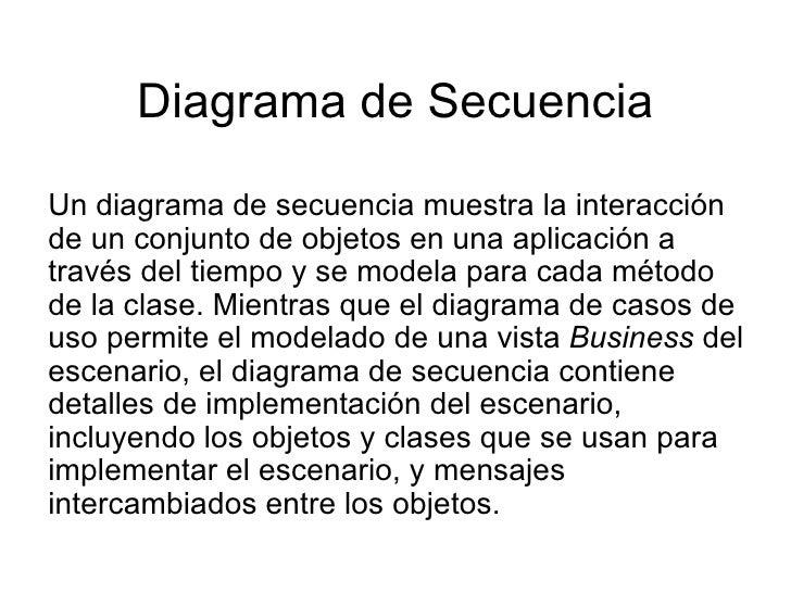 Diagrama de Secuencia Un diagrama de secuencia muestra la interacción de un conjunto de objetos en una aplicación a través...