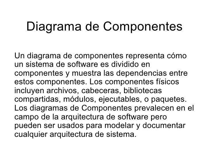 Diagrama de Componentes Un diagrama de componentes representa cómo un sistema de software es dividido en componentes y mue...