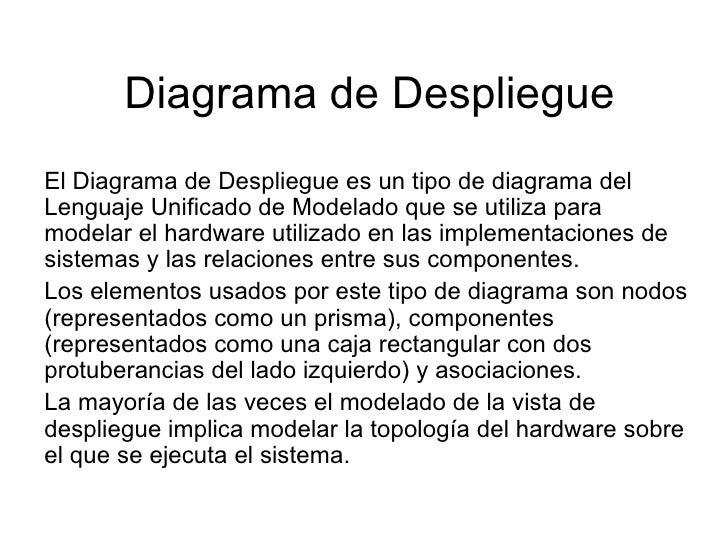 Diagrama de Despliegue El Diagrama de Despliegue es un tipo de diagrama del Lenguaje Unificado de Modelado que se utiliza ...