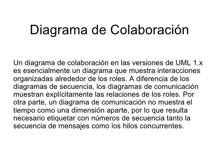 Diagrama de Colaboración Un diagrama de colaboración en las versiones de UML 1.x es esencialmente un diagrama que muestra ...