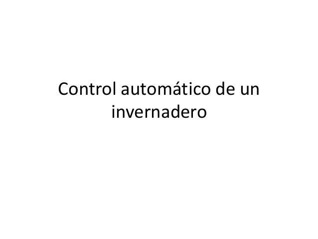 Control automático de un invernadero