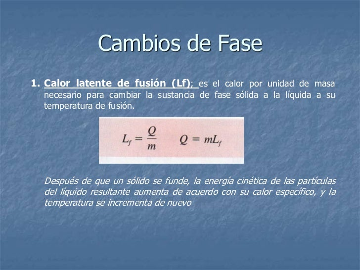 Calores de Fusión y Calor de Vaporización de Diversas         Sustancias