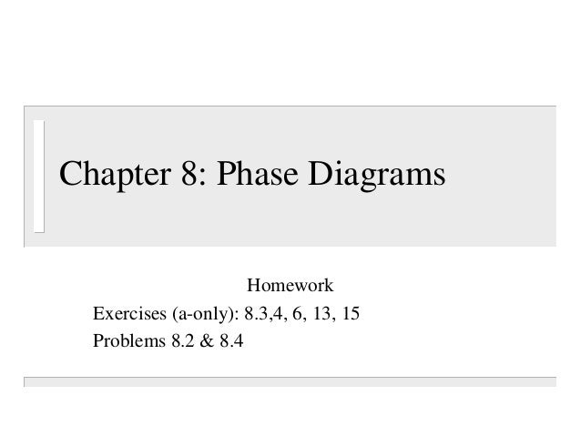 Chapter 8: Phase Diagrams                      Homework  Exercises (a-only): 8.3,4, 6, 13, 15  Problems 8.2 & 8.4