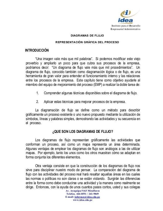 Instituto para el Desarrollo Empresarial Administrativo DIAGRAMAS DE FLUJO REPRESENTACIÓN GRÁFICA DEL PROCESO INTRODUCCIÓN...