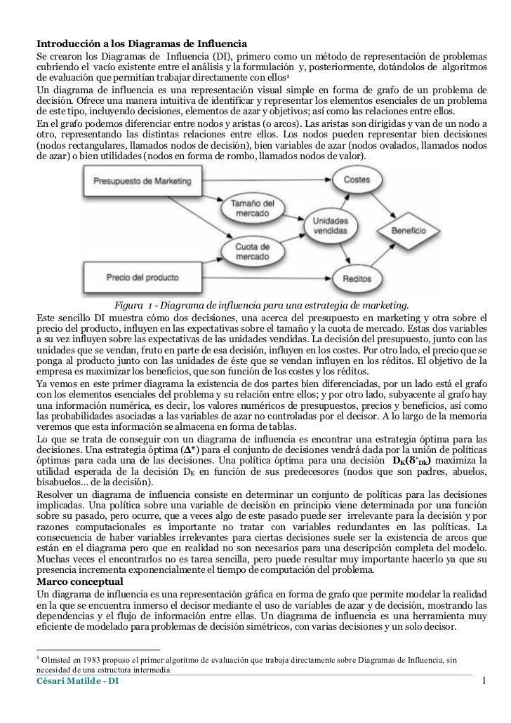 Introducción a los Diagramas de InfluenciaSe crearon los Diagramas de Influencia (DI), primero como un método de represent...
