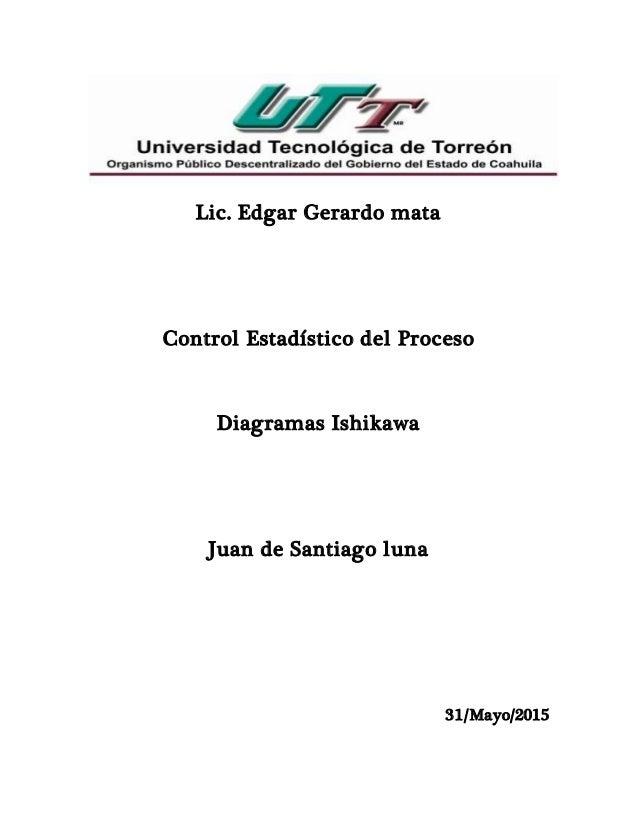 Lic. Edgar Gerardo mata Control Estadístico del Proceso Diagramas Ishikawa Juan de Santiago luna 31/Mayo/2015