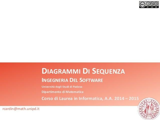DIAGRAMMI DI SEQUENZA  INGEGNERIA DEL SOFTWARE  Università degli Studi di Padova  Dipartimento di Matematica  Corso di Lau...