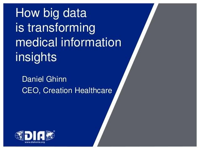 How big data  is transforming  medical information  insights  Daniel Ghinn  CEO, Creation Healthcare