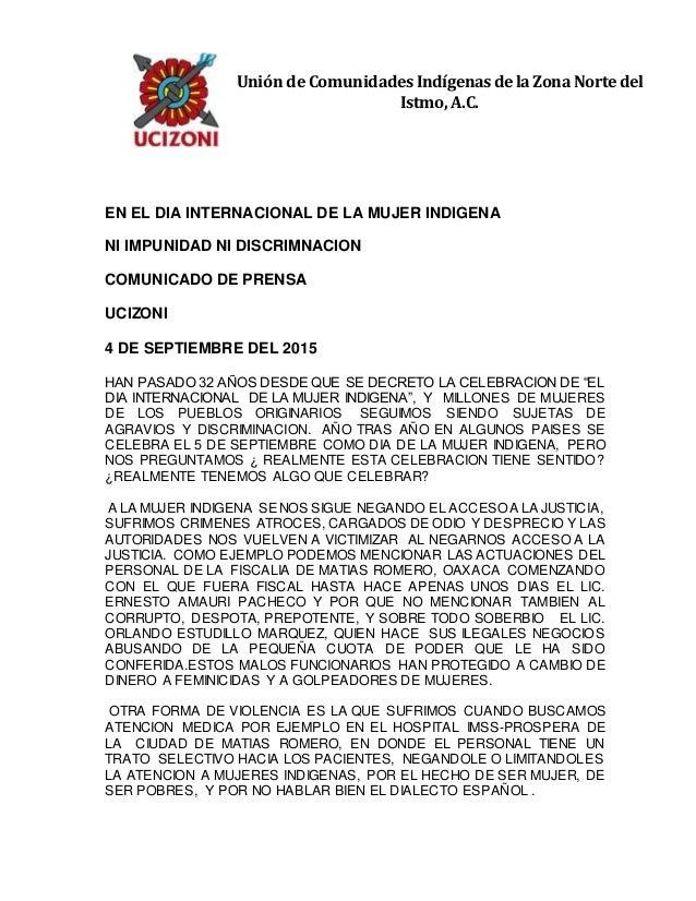 EN EL DIA INTERNACIONAL DE LA MUJER INDIGENA NI IMPUNIDAD NI DISCRIMNACION COMUNICADO DE PRENSA UCIZONI 4 DE SEPTIEMBRE DE...