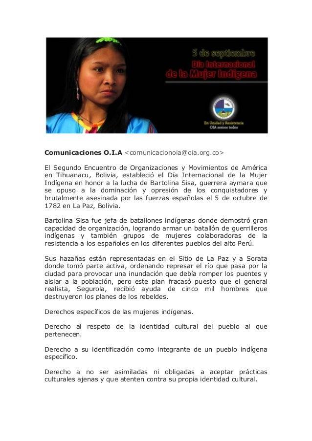 Comunicaciones O.I.A <comunicacionoia@oia.org.co> El Segundo Encuentro de Organizaciones y Movimientos de América en Tihua...