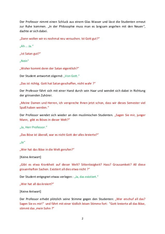 Ein Dialog Zwischen Einem Atheistischen Professor Und Einem Muslimisc
