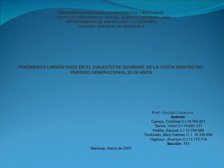 """UNIVERSIDAD PEDAGÓGICA EXPERIMENTAL LIBERTADOR   INSTITUTO PEDAGÓGICO """"RAFAEL ALBERTO ESCOBAR LARA"""" DEPARTAMENTO DE CASTEL..."""