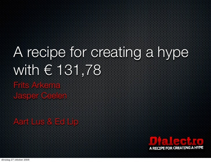 A recipe for creating a hype          with € 131,78          Frits Arkema          Jasper Ceelen            Aart Lus & Ed ...