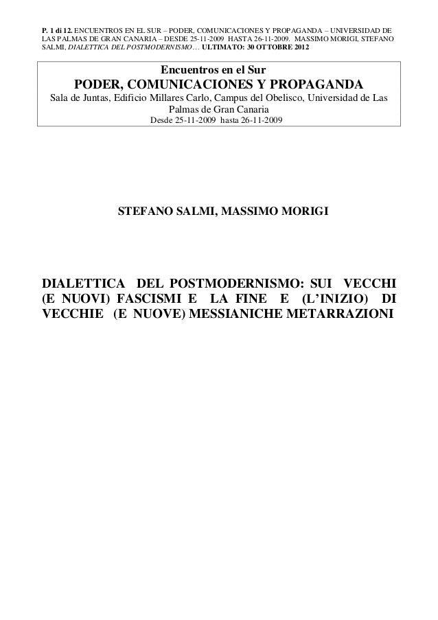 P. 1 di 12. ENCUENTROS EN EL SUR – PODER, COMUNICACIONES Y PROPAGANDA – UNIVERSIDAD DE LAS PALMAS DE GRAN CANARIA – DESDE ...
