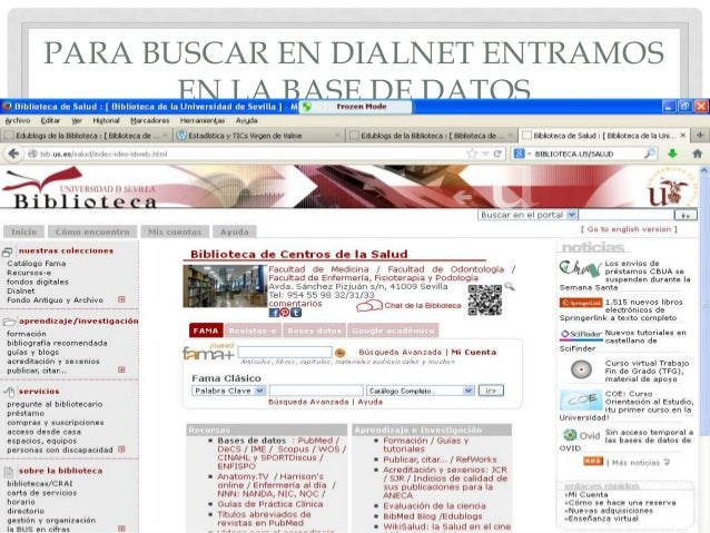 PARA BUSCAR EN DIALNET ENTRAMOS EN LA BASE DE DATOS