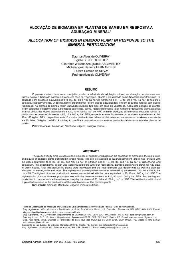 OLIVEIRA, D.A. et al. Alocação de biomassa em plantas de bambu...       ALOCAÇÃO DE BIOMASSA EM PLANTAS DE BAMBU EM RESPOS...