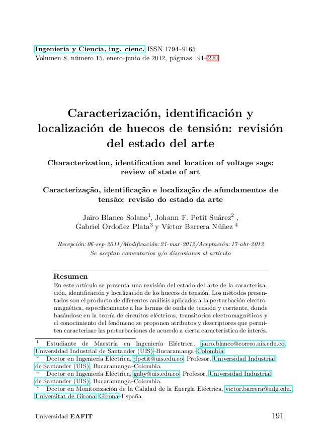 Ingenier´ y Ciencia, ing. cienc. ISSN 1794–9165        ıaVolumen 8, n´mero 15, enero-junio de 2012, p´ginas 191–220       ...