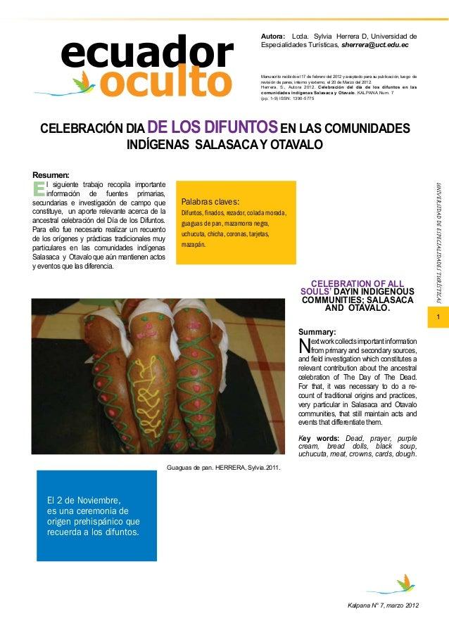 1  Autora: Lcda. Sylvia Herrera D, Universidad de  Especialidades Turísticas, sherrera@uct.edu.ec  Manuscrito recibido el ...