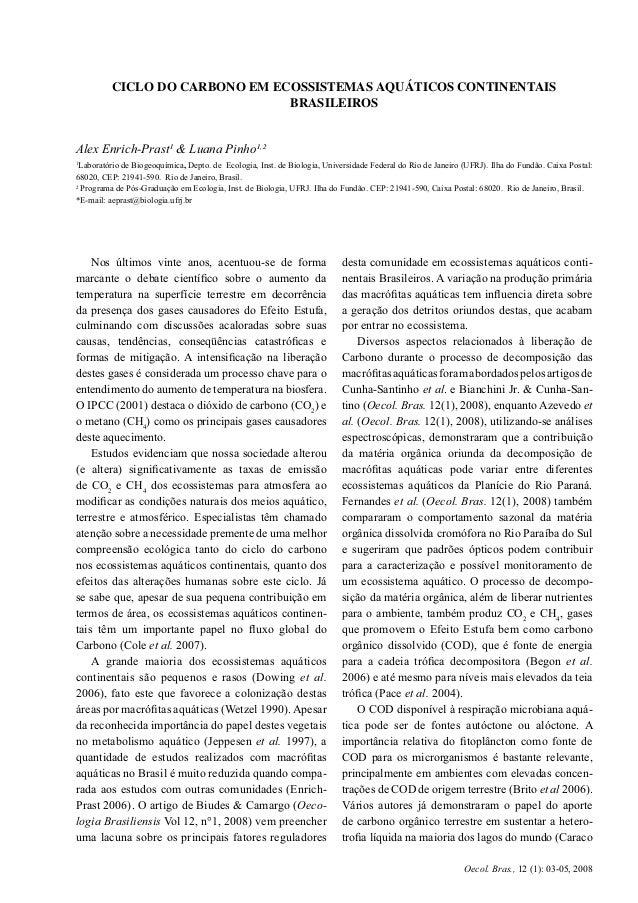 3CICLO DO CARBONO EM ECOSSISTEMAS AQUÁTICOS CONTINENTAIS BRASILEIROS Oecol. Bras., 12 (1): 03-05, 2008 Nos últimos vinte a...