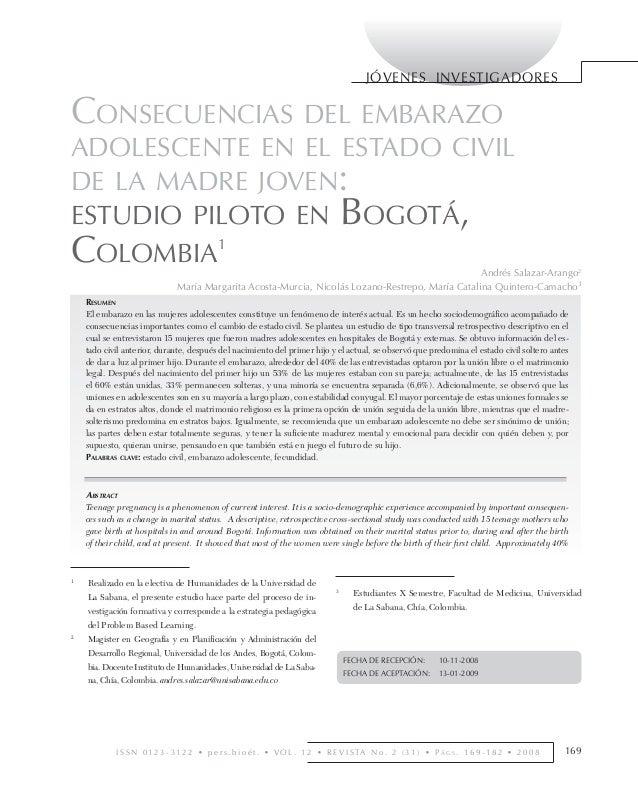 CONSECUENCIAS DEL EMBARAZO ADOLESCENTE EN EL ESTADO CIVIL • ANDRÉS SALAZAR-ARANGO Y OTROS                                 ...