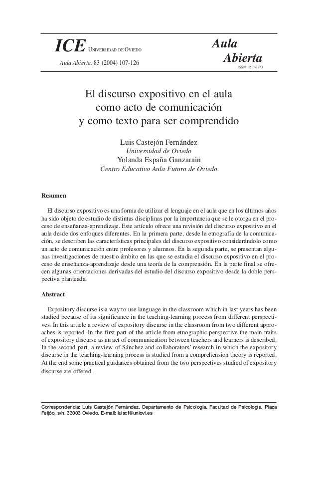 El discurso expositivo en el aula como acto de comunicación y como texto para ser comprendido Luis Castejón Fernández Univ...