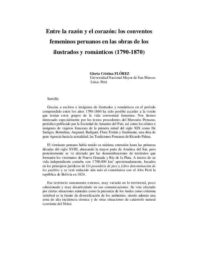 Entre la razón y el corazón: los conventos femeninos peruanos en las obras de los ilustrados y románticos (1790-1870) Glor...