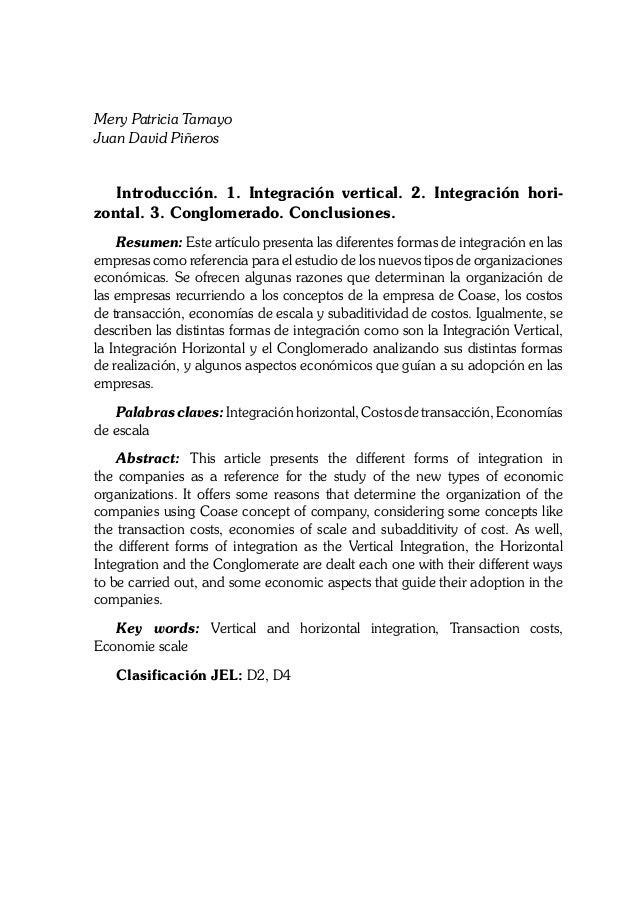 Mery Patricia Tamayo Juan David Piñeros Introducción. 1. Integración vertical. 2. Integración hori zontal. 3. Conglomerad...