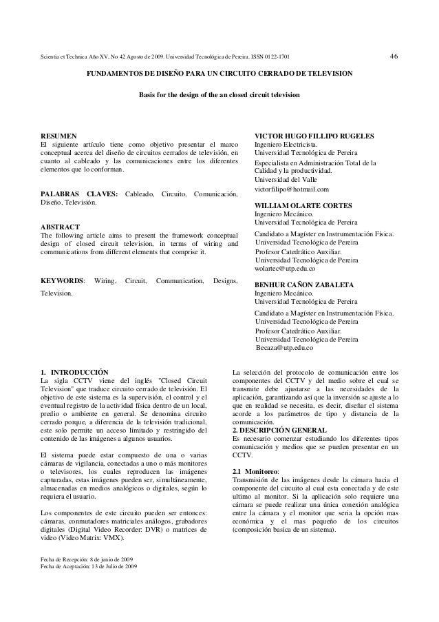 Scientia et Technica Año XV, No 42 Agosto de 2009. Universidad Tecnológica de Pereira. ISSN 0122-1701 46 Fecha de Recepció...