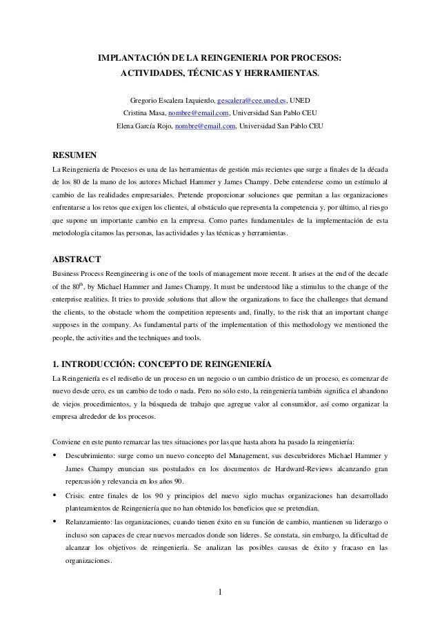 IMPLANTACIÓN DE LA REINGENIERIA POR PROCESOS: ACTIVIDADES, TÉCNICAS Y HERRAMIENTAS. Gregorio Escalera Izquierdo, gescalera...