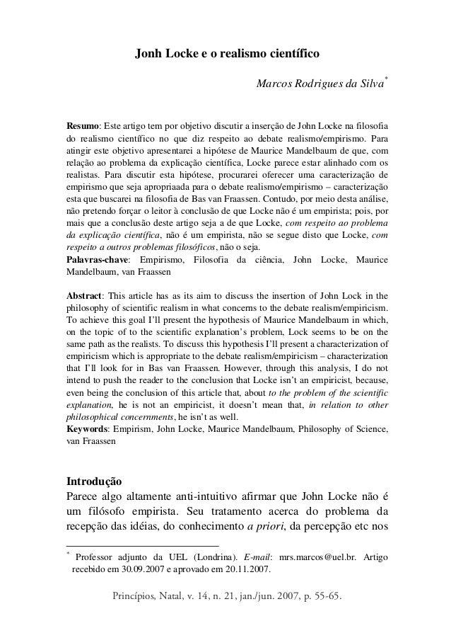 Princípios, Natal, v. 14, n. 21, jan./jun. 2007, p. 55-65. Jonh Locke e o realismo científico Marcos Rodrigues da Silva* R...