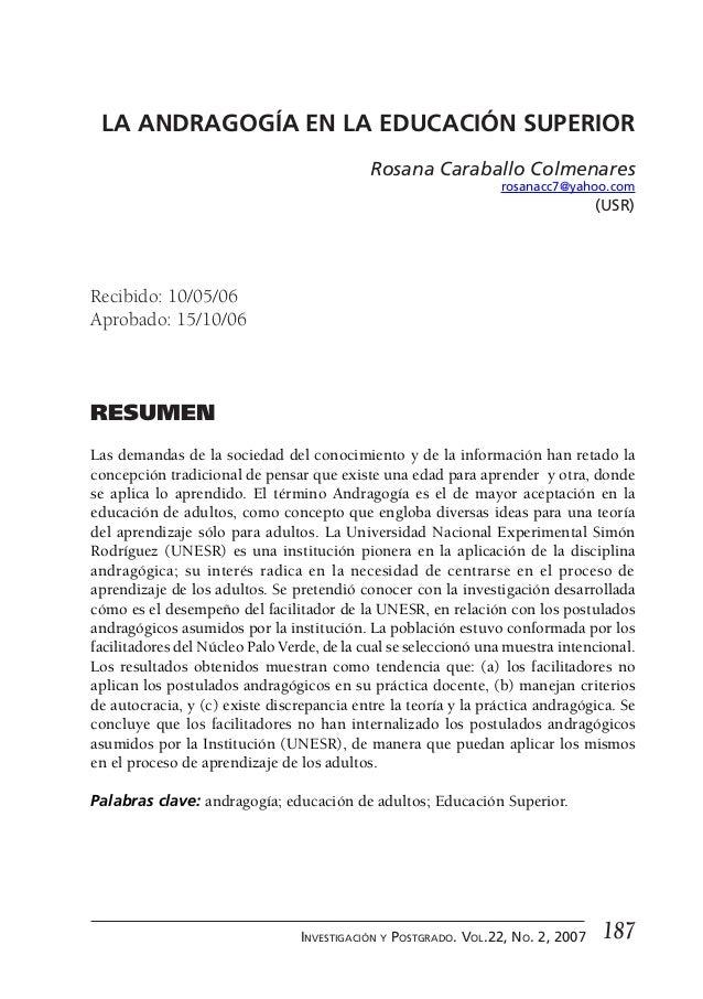 La andragogía en la educación superior LA ANDRAGOGÍA EN LA EDUCACIÓN SUPERIOR                                            R...