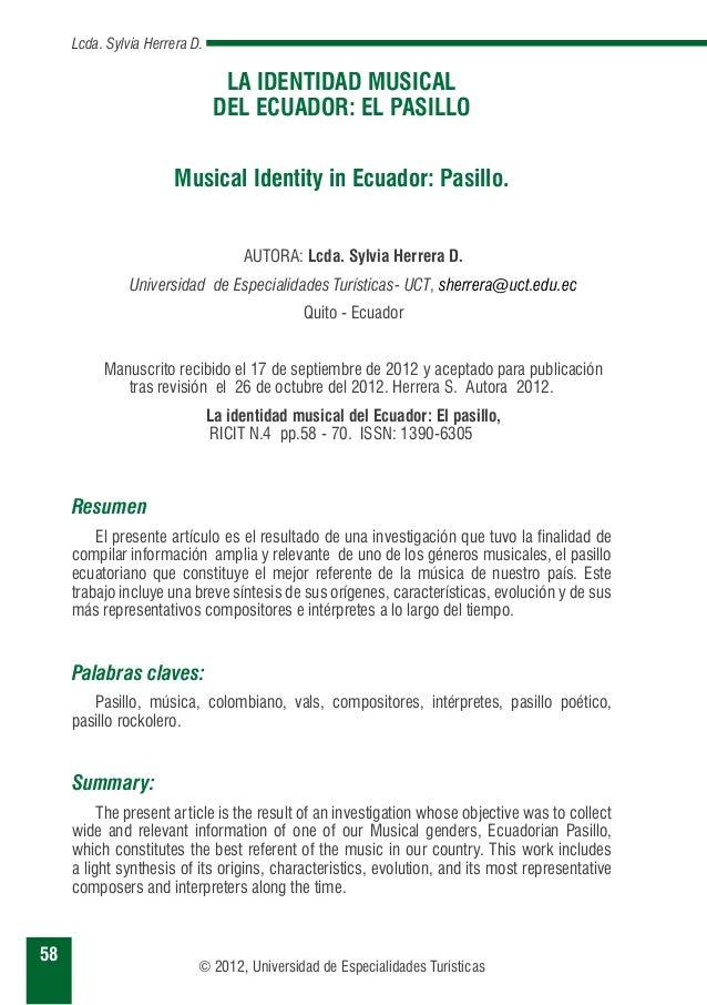La Identidad Musical Del Ecuador El Pasillo