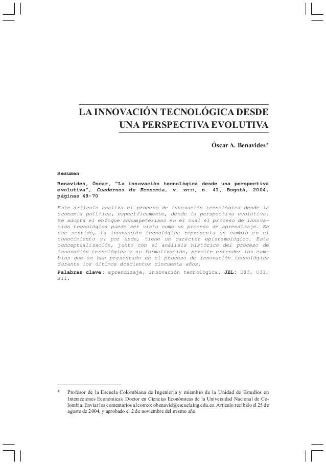 LA INNOVACIÓN TECNOLÓGICA DESDE                UNA PERSPECTIVA EVOLUTIVA                                                  ...